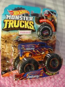 2018 MONSTER TRUCK 1/16 HOT WHEELS Dairy DELIVERY ☯blue/orange;flame☯Collectible