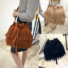 Women Drawstring Messenger Bags Lady Tassel Crossbody Bag Shoulder Handbag