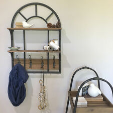 Timber and Metal Shelves with Hooks/Storage Organisation Kitchen Shelf/Entryway