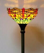 Tiffany Style Floor Lamp Torchiere Stained Glass Art Light Handcrafted Uplighter