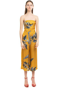 RRP€140 CARLA G. Satin Jumpsuit Size 38 XS Printed Bandeau Cropped Made in Italy