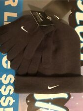 Nike Dark Gray Knit Cuff Beanie & Stretch Gloves Youth Boy's 8-20 Nwt