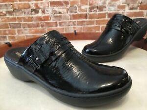Clarks Black Patent Leather Delana Amber Lightweight Slip On Mule 9 Narrow New