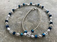 Handmade Necklace of Metallic Blue, Clear, White, and Silver Czech Glass Beads