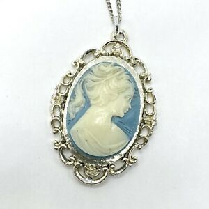 Vintage cameo necklace and earring set blue and white luster white pealized silver finish frame and chain teal blue