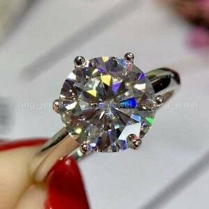 Solid 14K White Gold Moissanite Engagement Ring Certified 2.50Ct Round Solitaire