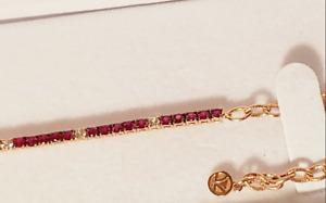 LeVian Le Vian Ruby & White Sapphire Bracelet 14K Rose Strawberry Gold