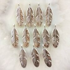 30Pcs Carved Tibet Silver Feather Pendant Bead 29x9x2mm JC394