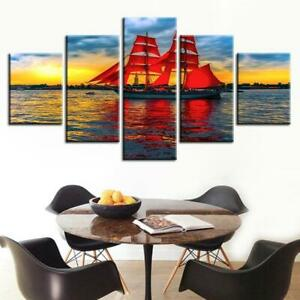 Red Sails in the Ocean 5 piece HD Art Poster Wall Home Decor Canvas Print
