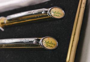 Quill Gold Pen & Pencil Set w/Chrome Trim - Holiday Inn - Nice Box, NOS - 301P