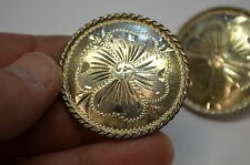 2 FLEMING Sterling Silver Rope Edge 4 Leaf Clover Conchos * FINEST QUALITY
