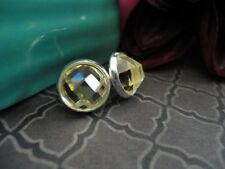 Faceted Post Earrings, Yellow Topaz, Jewel Cabochon, 10mm Earrings