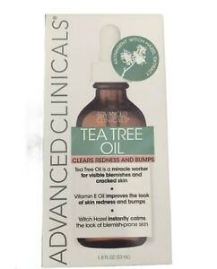 Advanced Clinicals Tea Tree Oil Clears Redness -Bumps-Blemishes 1.8 Fl Oz