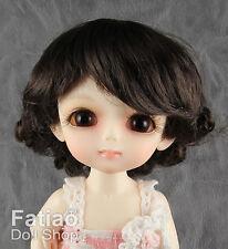 "Dollfie Lati Yellow Pukifee 5-6"" Doll Wig Deep Brown"