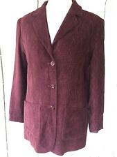 JAEGER Vintage 80's Red Fine Cord & Leaf Pattern Textured Blazer JACKET Size 12