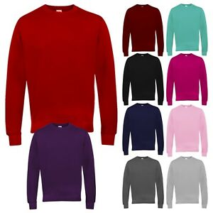 Women's Sweatshirt Crew Neck Fleece Jumper Plain Sweater Work Casual SM ML 8-14