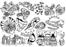 Unmounted Rubber Stamps Sheet, Southwest Stamps, South Western, Coyote, Feather