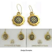 Damascene Gold Star Design Round Drop Earrings by Midas of Toledo Spain
