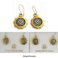 Damascene Gold Star Design Round Drop Earrings by Midas of Toledo Spain