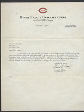 CINCINNATI REDS MINOR LEAGUE BASEBALL LETTER FRED FLEIG TO JOE CONSOLI 1950