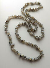 Labradorite gemstone nugget long necklace .. grey beige bead chip jewellery