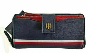 Tommy Hilfiger 2-in-1 Navy Red Zip Around Wallet w/ Card Case Faux Leather