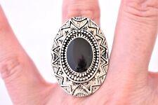 Oval Chunky Southwestern Ring Black Silver Tone Adjustable Size 5.75 - 9.75