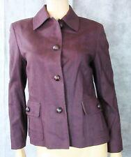 CINZIA ROCCA Purple Wool Green Plaid Blazer Jacket Leather Buttons 8 Italy