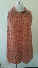 Minkpink Womens Tunic Blouse Top XS Sleeveless Polka Dot Button Down Front New