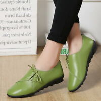Womens Leather Flat Shoes Lace up Loafers Moccasins Driving Casual Slip On Shoes