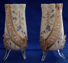 Antique Pair of Bohemian Opaline Enamelled Glass Vases Harrach