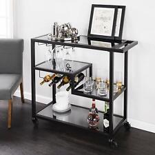 Modern Glam Sleek Black Smoked Glass Metal Mobile Tiered Bar Cart Serving Cart