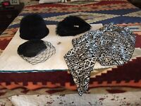 Vintage Hats Black ,silverstone,black Fur W/brooch, Black Hat With Veil,feathers