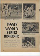 1960 World Series Highlights Major League Baseball Magazine Full Page Print Ad