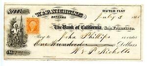 1865. Dutch Flat, California Revenue Bank check. Bank of California San Francisc