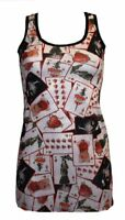 NEW PLAYING CARDS HEART TATTOO PRINT LONG VEST TOP SUMMER DRESS GOTH PUNK EMO