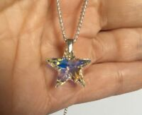 Swarovski Elements Necklace Pendant Crystal Star Jewellery Clear AB Silver Gift