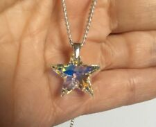 925 Silver Necklace Pendant Made With Swarovski® Crystals Star Jewellery AB Gift