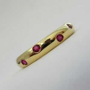 TIFFANY & Co. 18K Yellow Gold Ruby Etoile Band Ring 7.5