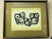 MARGARET LAYTON Owl Print Painting Family Portrait Framed Mid Century Art Vtg