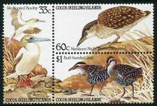 Cocos Isls 132-134a block,MNH.Michel 137-139. Birds 1985.Booby,Night heron,Rail.
