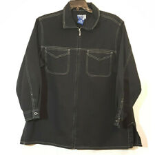 Vintage Venezia Jeans Denim Jacket Sz L 14/16 Black White Stitching Zip Up