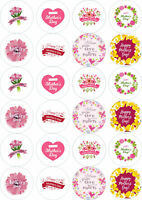 24 x Mothers Day Edible Wafer / Icing Cupcake Fairy Cake Toppers Pre Cut Option