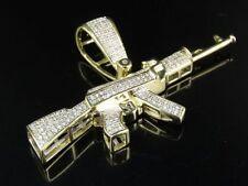 """Men's 10K Yellow Gold Genuine Diamond AK 47 Rifle Gun Pendant Charm 2/5 CT 1.2"""""""