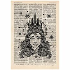 Woodland Snow Princess Dictionary Print OOAK, Art, Alternative, Unique, Gift,