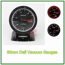 60mm def advanced  Vacuum gauge Amber red/ white lights black face auto meter