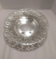 "Vintage Wallace Madrilena Silverplate Reticulated Bowl-EPNS Metal S1519: 13"" Dia"