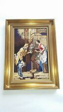 Altes Gemälde Gobelin Stickbild 25x19cm