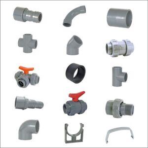 PVC-U Klebe Fitting 50mm + 63mm , T-Stück, Bogen, Muffe, Winkel, Kugelhahn Bogen