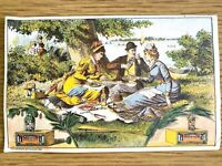 1880s VICTORIAN TRADE CARD antique advertising PICKLES and OLIVES Summer Picnic